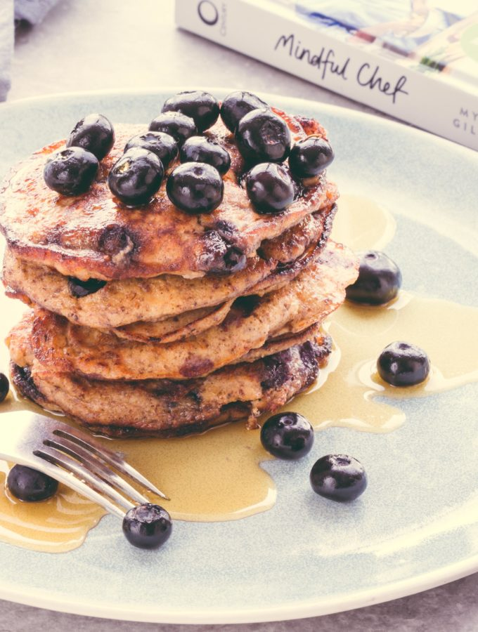 Blueberry and banana protein pancakes