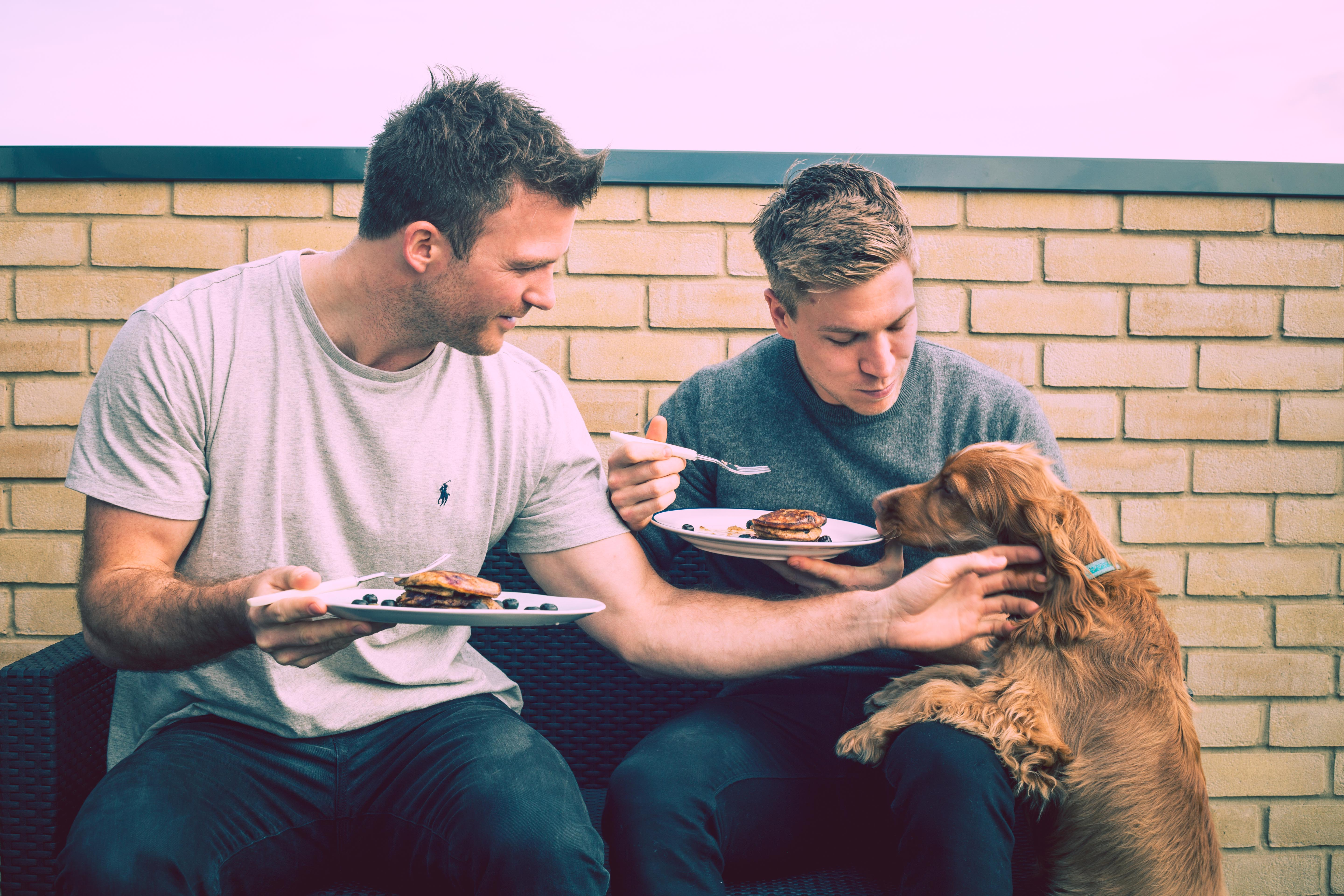 Myles and Giles eating pancakes